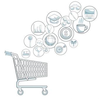 Fundo branco com seções de cores do carrinho de compras com ícones de bolhas ilustração vetorial de marketing digital