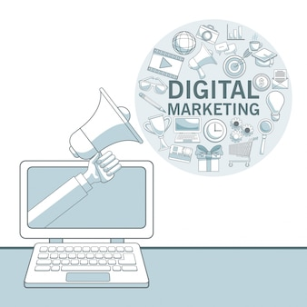 Fundo branco com seções de cores do dispositivo portátil com mão segurando um megafone e ícones de marketing digital