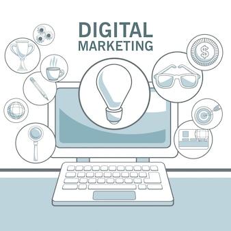 Fundo branco com seções de cores do dispositivo portátil e ícones ilustração vetorial de marketing digital