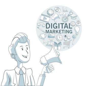 Fundo branco com seções de cores do homem executivo e quadro circular com ícones marketing digital