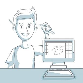 Fundo branco com silhueta seção de cores sombreamento de cara designer e computador de mesa