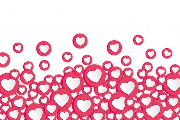 Fundo branco com sinais de corações