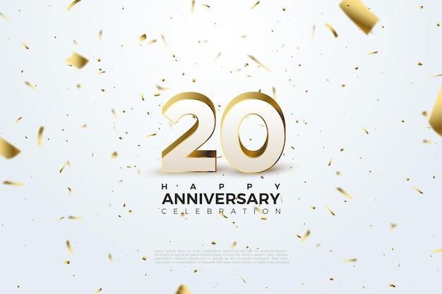 Fundo branco cravejado de ouro para o vigésimo anivversário com números em relevo também