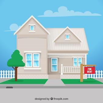 Fundo branco da casa de aluguel