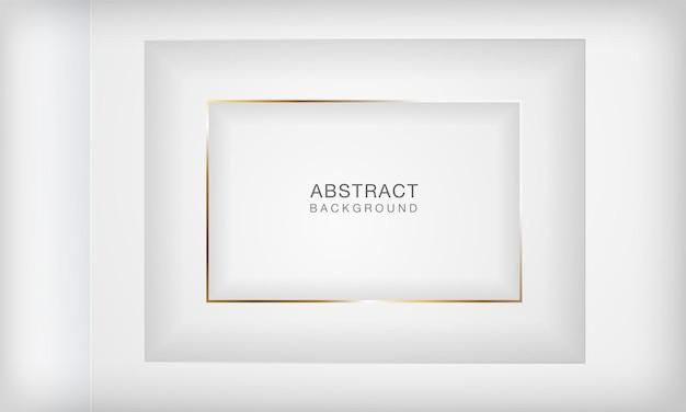 Fundo branco de camada de papel recortado em quadrado 3d abstrato com linha dourada elegante