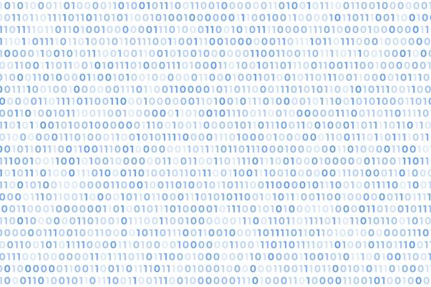 Fundo branco de código binário com números flutuantes