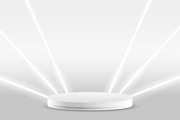 Fundo branco de exibição de produto em pódio com luzes de néon