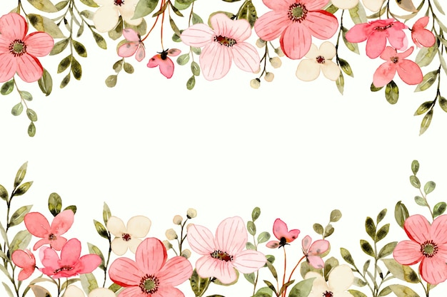 Fundo branco de flores silvestres rosa com aquarela