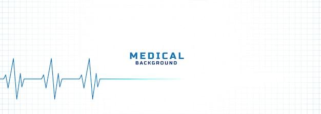 Fundo branco de médico e de saúde com linha de eletrocardiograma