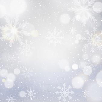 Fundo branco de natal com bokeh e flocos de neve