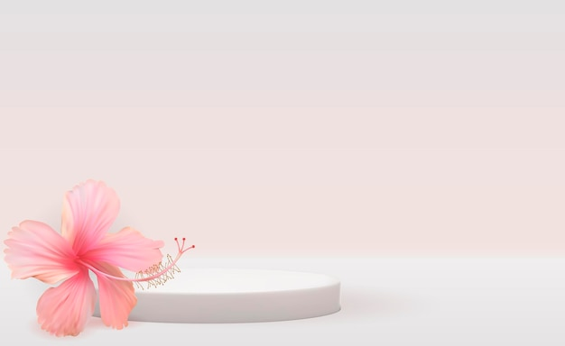Fundo branco de pedestal 3d com flor de hibisco realista para revista de moda de apresentação de produtos cosméticos
