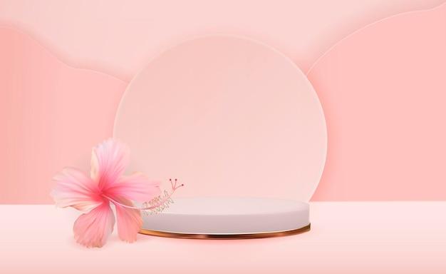 Fundo branco de pedestal 3d com flor de hibisco