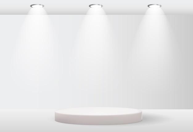 Fundo branco de pedestal 3d com lâmpada de iluminação para apresentação de produtos cosméticos para revista de moda copiar espaço