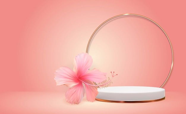 Fundo branco de pedestal 3d com moldura de anel de vidro dourado e flor de hibisco