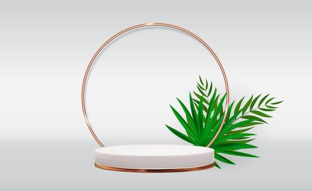 Fundo branco de pedestal 3d com moldura de anel de vidro dourado folhas de palmeira realistas para apresentação de produtos cosméticos para revista de moda