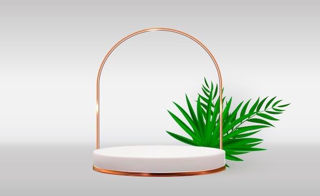 Fundo branco de pedestal 3d com moldura de anel dourado folhas de palmeira realistas para apresentação de produtos cosméticos para revista de moda
