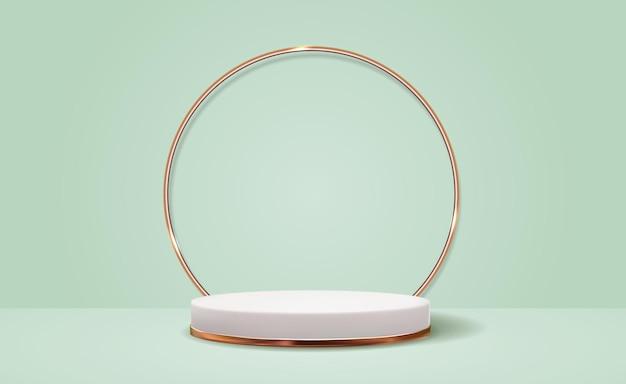 Fundo branco de pedestal 3d com moldura de anel dourado