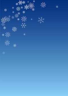 Fundo branco do azul do vetor da queda de neve. textura de floco de neve de natal. design de céu cinza. ilustração de neve de férias.