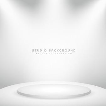 Fundo branco do estúdio com pódio