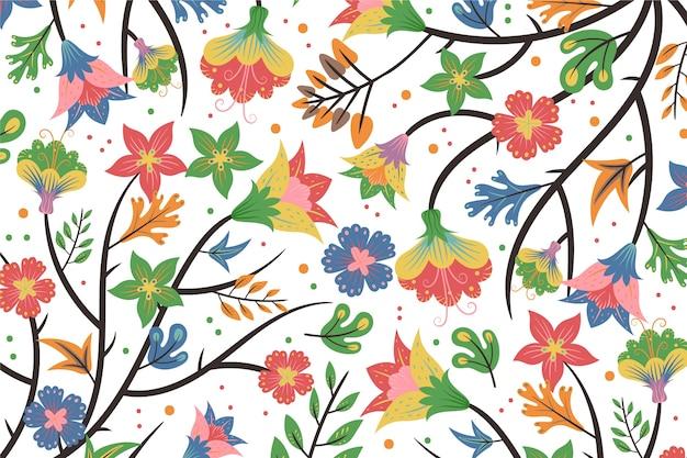 Fundo branco floral exótico colorido