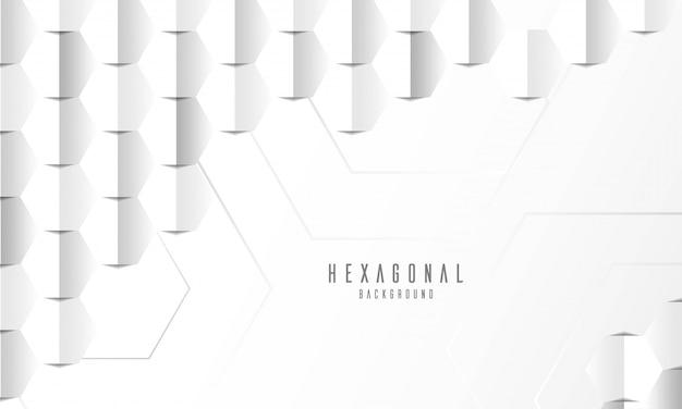 Fundo branco hexagonal em relevo abstrato