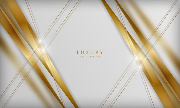 Fundo branco luxuoso com elementos de linha de desfoque dourado modelo de design elegante em 3d
