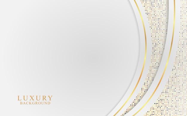 Fundo branco luxuoso combinado com elementos de linhas douradas
