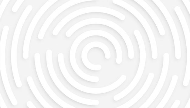 Fundo branco mínimo com design circular 3d