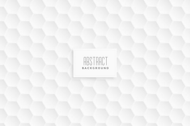 Fundo branco padrão hexagonal 3d