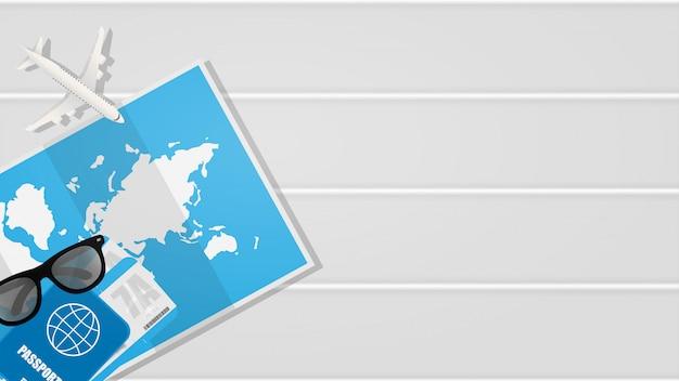Fundo branco para banner de viagens com lugar para texto.