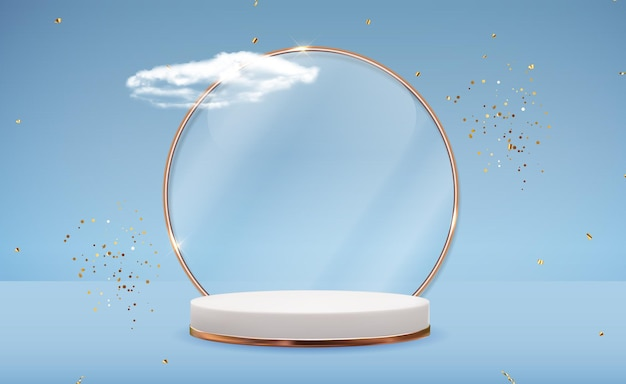 Fundo branco pedestal 3d com moldura de anel de vidro dourado, nuvens realistas e fita de confete. visor moderno de pódio vazio