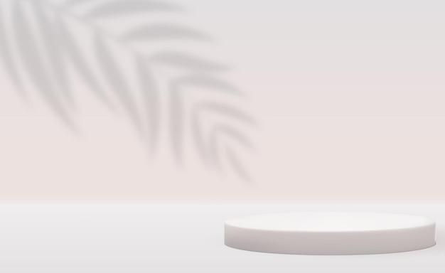 Fundo branco pedestal 3d com sombra de folhas de palmeira realistas