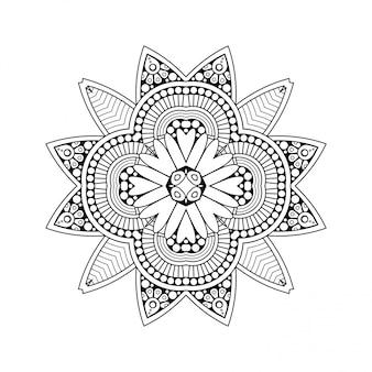 Fundo branco preto com mandala