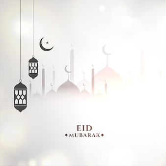 Fundo branco religioso de eid mubarak