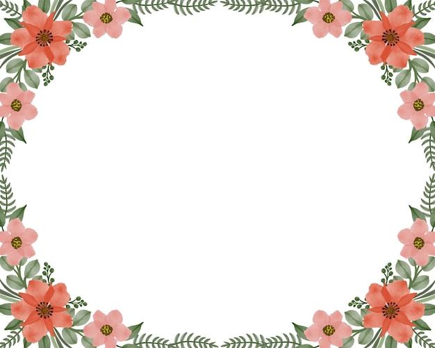 Fundo branco simples com borda de flores laranja