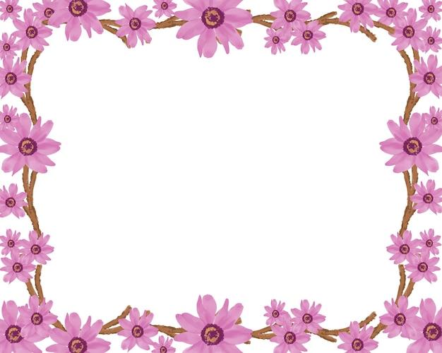Fundo branco simples com flor de flor rosa e borda marrom do ramo