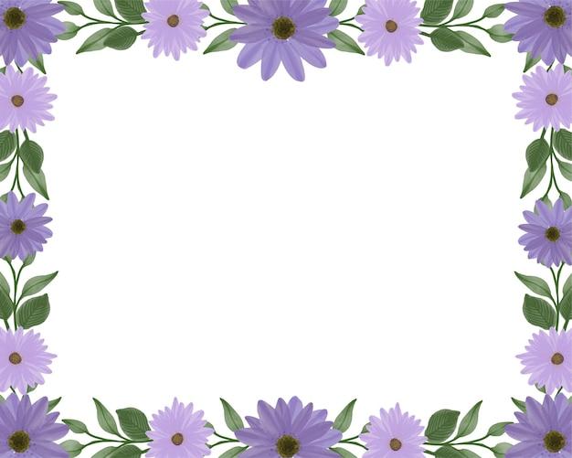 Fundo branco simples com margarida roxa para cartão de felicitações