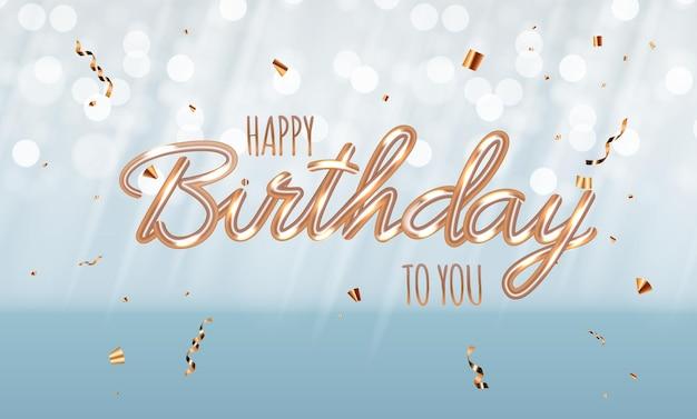 Fundo brilhante azul feliz aniversário com confete.