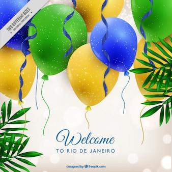 Fundo brilhante com balões das cores de brasil