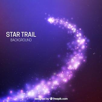 Fundo brilhante da trilha das estrelas roxas
