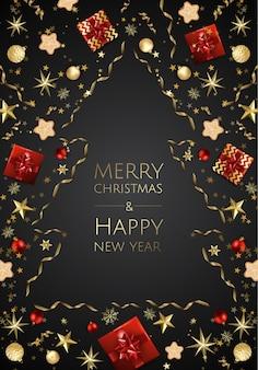 Fundo brilhante de natal com enfeites de natal dourados, cartão de feliz natal