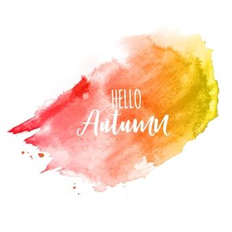 Fundo brilhante hello autumn aquarela respingo
