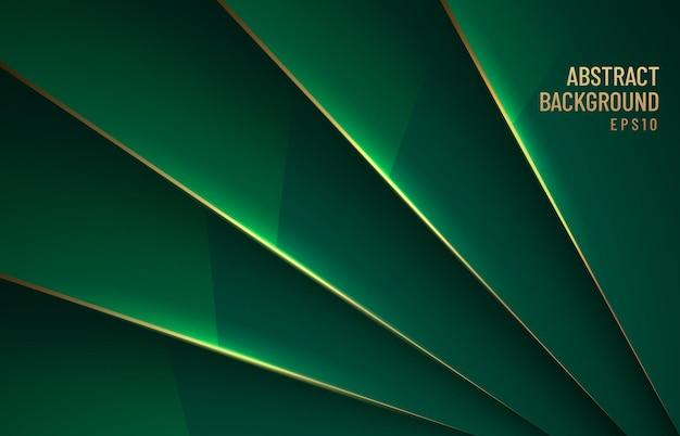 Fundo brilhante metálico verde escuro elegante sobreposição de camada com sombra com estilo luxuoso de linha dourada.