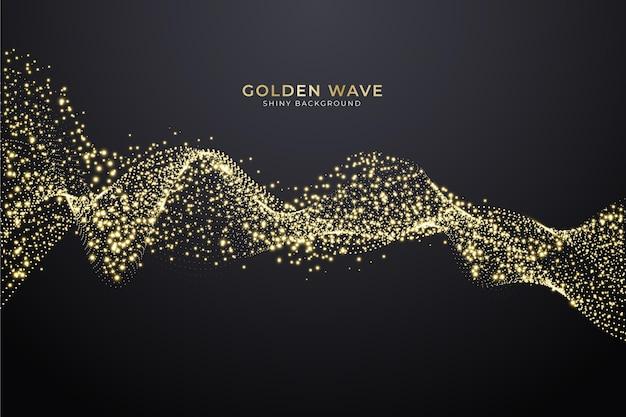 Fundo brilhante onda de ouro Vetor Premium