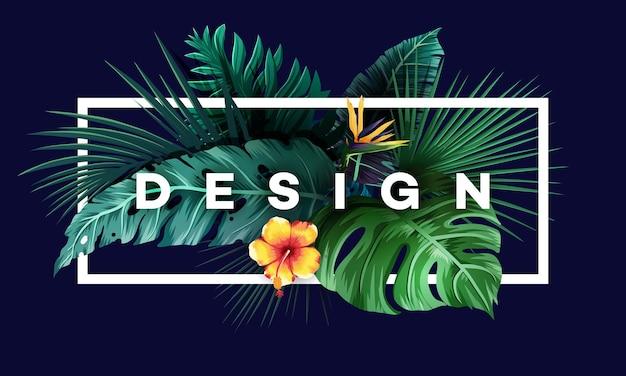 Fundo brilhante tropical com plantas da selva. padrão exótico com folhas de palmeira. ilustração vetorial