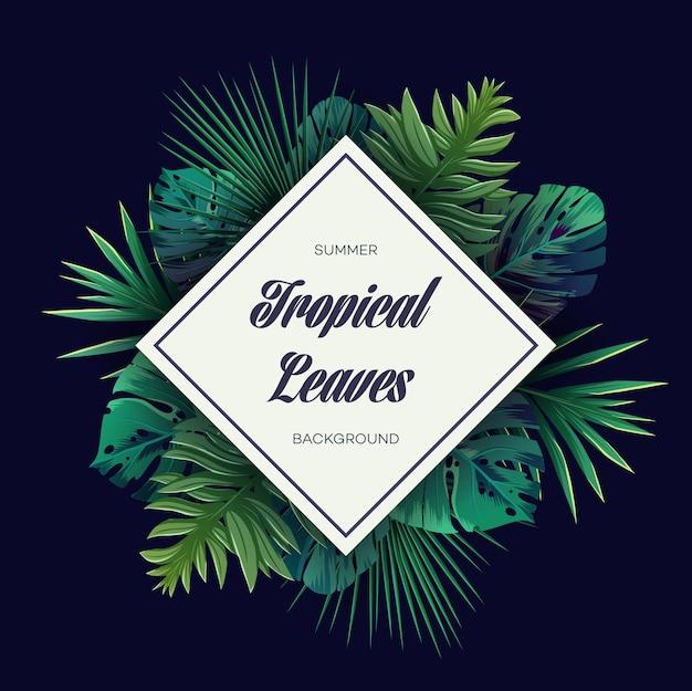 Fundo brilhante tropical com plantas da selva. padrão exótico de vetor com folhas de palmeira.