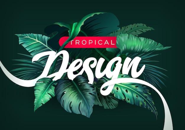 Fundo brilhante tropical com plantas da selva.
