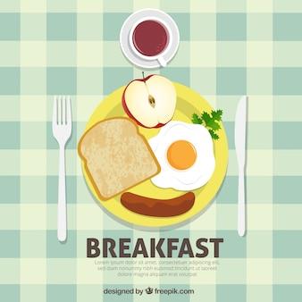 Fundo café da manhã saudável e nutritiva