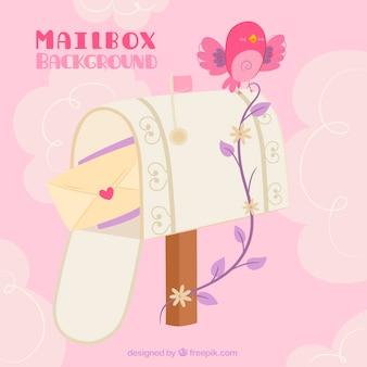 Fundo caixa de correio com carta de amor e pássaro