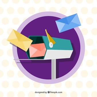 Fundo caixa hexagonal com envelopes em design plano